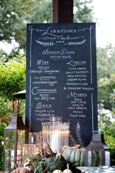 Chalk menu. Photography by ashleygarmonphoto.com Event + Floral Design by thenouveauromantics.com  Read more - http://www.stylemepretty.com/2013/07/03/austin-wedding-from-ashley-garmon-photographers/