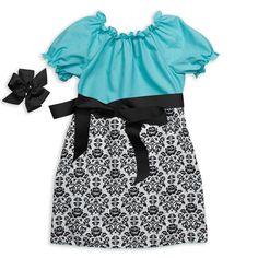 Black Damask Aqua Sash Dress