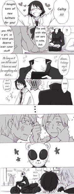 Awe Shinra and Celty are so cute! And I love how even Shizuo and IZAYA stop fighting for a sec haha