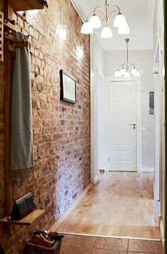 57 Exposed stone wall ideas for a modern interior You want to have a classy interior, retro and modern? If this is the case, we suggest you start with the walls. The exposed stone wall is increasingly preferred in contemporary design. Brick Accent Walls, Exposed Brick Walls, Brick Wallpaper Accent Wall, Stone Walls, Brick Interior, Entry Way Design, Entry Hallway, Brickwork, Hallway Decorating