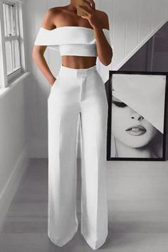 Sexy Bare Back Sloping Shoulder Sleeveless Pure Colour Suit – Owily Dressy Outfits, Chic Outfits, Fashion Outfits, Womens Fashion, Elegantes Business Outfit, Elegantes Outfit, Jumpsuit Dressy, Jumpsuit Outfit, Elegant Jumpsuit