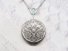 Silver Locket Necklace - Silver Victorian Locket - Wedding Jewelry by BirdzNbeez. $28.00, via Etsy.