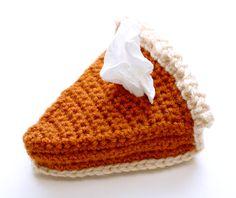 Pumpkin Pie Brooch (and Tissue Holder) - Free Amigurumi Crochet Pattern & Video Tutorial here: http://blog.twinkiechan.com/2014/11/26/free-crochet-pattern-video-tutorial-pumpkin-pie-brooch-and-tissue-holder/