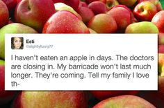 "For those who don't understand the joke, there's a saying ""An apple a day keeps the doctors away."" 