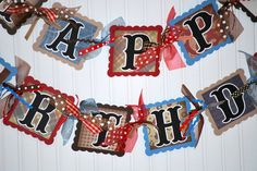 Happy Birthday Cowboy Banner Decoration Western Party Theme