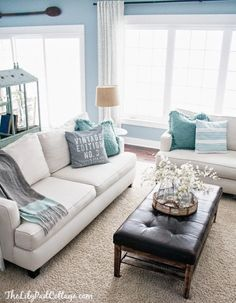 Living room: gray couches with yellow and turquoise accen   Homes and styles