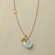 """ECHOES NECKLACE--Melissa Joy Manning offsets two rings along her necklace to echo two more that proffer a lemon quartz droplet and aquamarine briolette. Recycled 14kt gold. Hook clasp. Handmade in USA. 16"""" to 18""""L."""