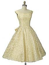50s Emma Domb Chamois Yellow Flocked Organza Prom Party Dress