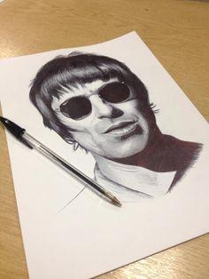 StannArt - Liam Gallagher biro portrait