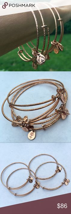 SALE! Rare Alex & Ani Rose Gold Textured Bangles Beautiful set of four textured bangle bracelets in rose gold by Alex and Ani. ALL four bangles have three Alex and Ani tags on them: one with the recycling logo/made in the USA, one with the Alex and Ani logos, and one with the copyright and US patent number. Worn for one occasion, in great condition! Alex and Ani Jewelry Bracelets