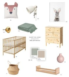 Shop the look for this sweet baby girl nursery with a palette of pink and green.