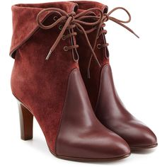 Chloé Suede and Leather Lace-Up Boots ($835) ❤ liked on Polyvore featuring shoes, boots, ankle booties, red, lace up boots, suede boots, red ankle boots, short boots and lace up booties