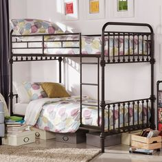 Inspire Q Regency Antique Dark Bronze Graceful Lines Iron Bunk Bed