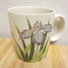 Vintage Otagiri Blue Iris Floral Coffee Mug Gold Trim