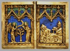 Diptych with Scenes of the Annunciation, Nativity, Crucifixion, and Resurrection, Cologne, Germany, 1300-1320.