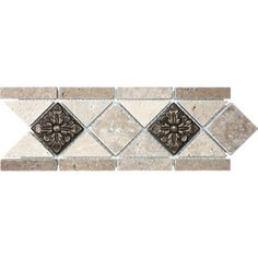Noce and Chiaro with Metal Natural Stone Mosaic Listello Tile (Common: 4-in x 12-in; Actual: 4.13-in x 11.22-in) Shower Backsplash, Kitchen Backsplash, Backsplash Ideas, Tile Ideas, David's Kitchen, Kitchen Decor, Kitchen Ideas, Lowes Tile, Grey Bathrooms