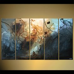 multi panel canvas blue abstract painting