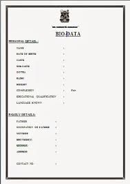 biodata for job application