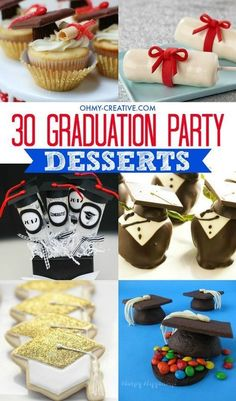 Create a spectacular graduation party dessert table with these 30 Graduation Party Dessert Ideas from the senior in high school to the preschool graduation! #graduateschool