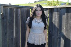 We are Blushing Over this Lace Peplum Top for $28 and Geometric Necklace for $20.
