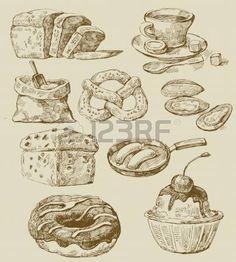 retro kitchen graphics: food set Illustration