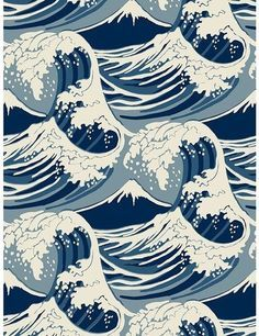 Cole & Son Wave Wallpaper has a Hokusai vibe, but would look perfect in even the preppiest of homes.This Cole & Son Wave Wallpaper has a Hokusai vibe, but would look perfect in even the preppiest of homes. Waves Wallpaper, Cool Wallpaper, Pattern Wallpaper, Wallpaper Ideas, Wallpaper Desktop, Graphic Wallpaper, Wallpaper Designs, White Wallpaper, Bathroom Wallpaper