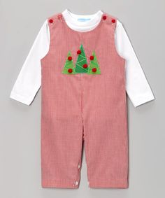 Take a look at this White Tee & Red Gingham Tree Overalls - Infant & Toddler by Monday's Child on #zulily today!