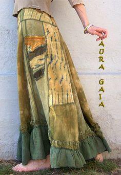 AuraGaia ~Lichen~ Poorgirls BoHo Bustleback OverDyed Upcycled Skirt S-1X