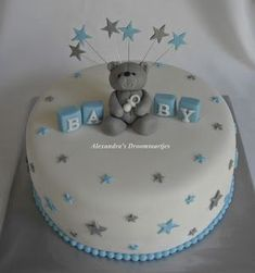 Made this blue silver white baby shower cake for a baby shower. - Made this blue silver white baby shower cake for a baby shower. Baby Shower Cakes For Boys, Baby Boy Cakes, Baby Shower Desserts, Baby Shower Parties, Baby Shower Themes, Baby Boy Shower, Baby Shower Decorations, Babyshower Cake Boy, Shower Centerpieces