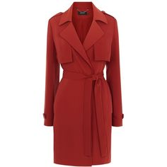 Karen Millen Soft Unstructured Trench Coat, Tan ($310) ❤ liked on Polyvore featuring outerwear, coats, leather-sleeve coats, patterned trench coat, red trench coat, sleeveless trench coat and print coat