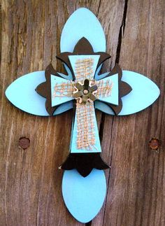 Hand Crafted Wooden Wall Cross by MaryLillianVintage on Etsy Decorative Crosses, Hand Painted Crosses, Wooden Crosses, Crosses Decor, Wall Crosses, Hand Crafts, Cute Crafts, Diy Crafts, Cross Art