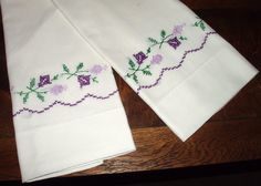 vintage embroidered pillowcases purple by RareRagsandTreasures, $12.00