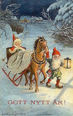 Vintage Christmas/New Year - Jenny Nyström Swedish Christmas, Victorian Christmas, Scandinavian Christmas, Christmas Art, Christmas Greetings, Vintage Christmas Images, Vintage Holiday, Christmas Pictures, Illustration Noel