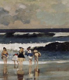 Cozyhuarique — On the Beach (Detail) - Winslow Homer 1869 Winslow Homer Paintings, Jean Leon, Arte Country, Whistler, Paintings I Love, Sea Paintings, Beach Scenes, Famous Artists, American Artists