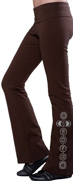 7 Chakras Ladies Yoga Pants - Made in the USA - Side Leg Print Ladies Yoga Pants These great 92% Cotton - 8% Spandex foldover yoga pants sport the 7