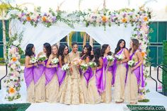 Wedding indian fusion bridesmaid saree ideas for 2019 Indian Wedding Bridesmaids, Indian Wedding Venue, Bridesmaid Saree, Gujarati Wedding, Bridesmaid Outfit, Indian Weddings, Indian Bridal Party, Bollywood Wedding, Saree Wedding