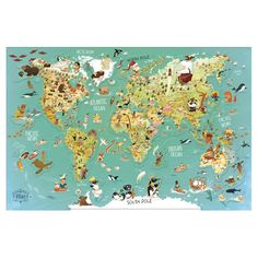 World Map Magnetic Puzzle Le Morse, Puzzles, Musical Toys, Little Elephant, Kids Corner, Kobe, Drake, Wooden Toys, Illustration