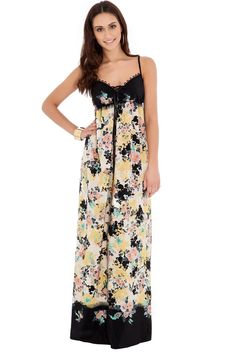 Floral Print Maxi Dress - Yellow - Front - DR129