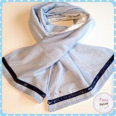 e3e4c6f70f96 Echarpe bleu clair pour petite fille, ruban paillettes, décoration étoiles.  Fait main,