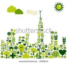Green city shape made with environmental icons set.