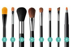 "When your face is the only face you ""do"", you don't need 50 brushes! Here's the basic makeup brushes (for your personal stash). 1. Foundation brush 2. Concealer brush 3. Fluffy powder brush 4. Blush brush 5. Small blending brush 6. Flat eyeshadow brush 7. Precision angle brush 8. Lip brush"