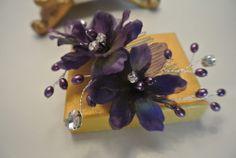 Purple Flower Crystal Pearl  Hair Comb Wedding Bridesmaid Fascinator Tiara