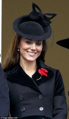 Kate Middleton, the Duchess of Cambridge smiles from the balcony during the annual Whiteha...