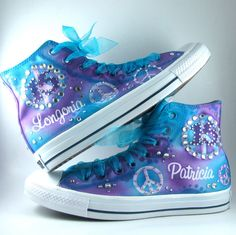 Custom Airbrushed Converse Sneakers  ANY color on WHITE by Plooms, $120.00