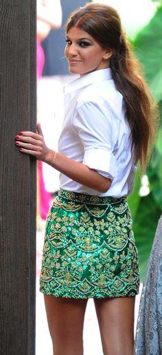 Summer street style / karen cox.  Bianca Brandolini - brocade skirt