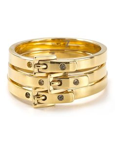 Michael Kors Skinny Buckle Rings, Set of 3   Bloomingdale's