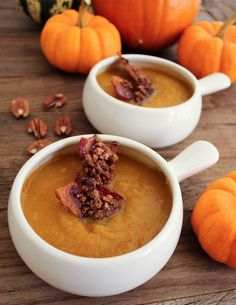 Domesticate ME!: Harvest Pumpkin Soup with Candied Bacon. #FallFest #Pumpkin