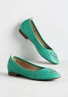 Swept Up in Sweetness Flat in Aqua - Green, Solid, Cutout, Work, Casual, Darling, Summer, Flat, Good, Variation, Green, Saturated, Faux Leather