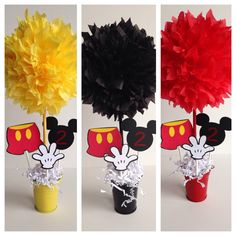 Mickey Mouse birthday party decoration centerpiece by AlishaKayDesigns on Etsy Mickey Mouse Theme Party, Fiesta Mickey Mouse, Mickey Mouse Baby Shower, Mickey Mouse Invitation, Mickey Mouse Clubhouse Party, Mickey Mouse Clubhouse Birthday, Mickey Mouse Birthday, 2nd Birthday, Elmo Party