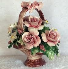 Vintage Italian Capodimonte ~ famous porcelain manufacturer in Italy. Established about 1740 ~ moulded porcelain, delicately painted and gilded ~ original works are greyish color while more modern imitations are typically white